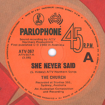 The Church - She Never Said Side A Label