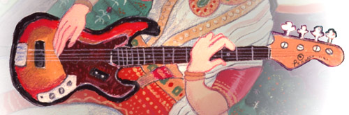 Saraswati with Fender Bass Detail